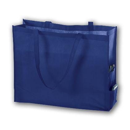 Royal Blue Unprinted Non-Woven Tote Bags, 20 x 6 x 16