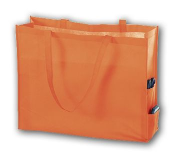 Orange Unprinted Non-Woven Tote Bags, 20 x 6 x 16