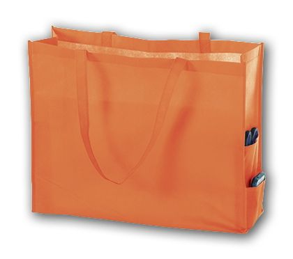 Orange Unprinted Non-Woven Tote Bags, 20 x 6 x 16""