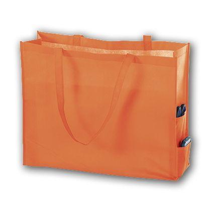 Orange Unprinted Non-Woven Tote Bags, 20 x 6 x 16