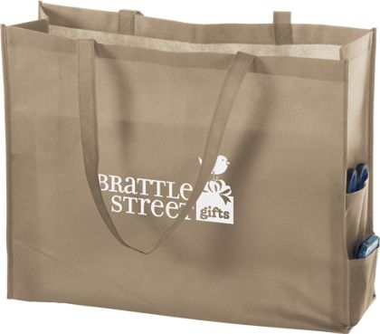 "Tan Non-Woven Tote Bags, 20 x 6 x 16"""