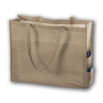 Tan Unprinted Non-Woven Tote Bags, 20 x 6 x 16