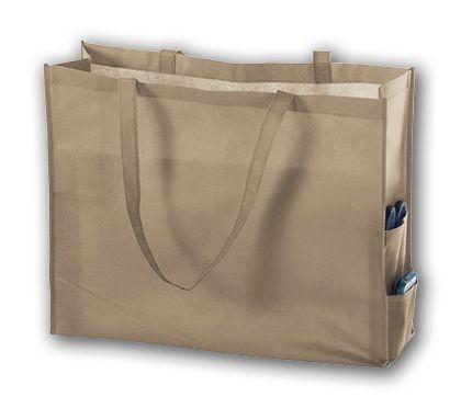 "Tan Unprinted Non-Woven Tote Bags, 20 x 6 x 16"""