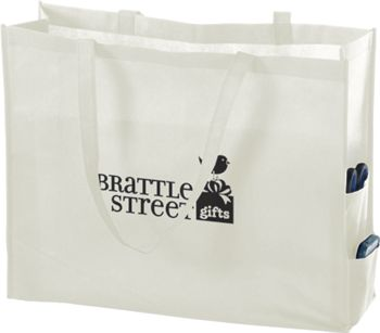 White Non-Woven Tote Bags, 20 x 6 x 16
