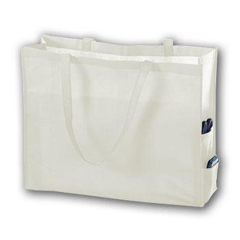 White Unprinted Non-Woven Tote Bags, 20 x 6 x 16