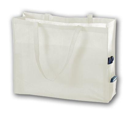 """White Unprinted Non-Woven Tote Bags, 20 x 6 x 16"""""""