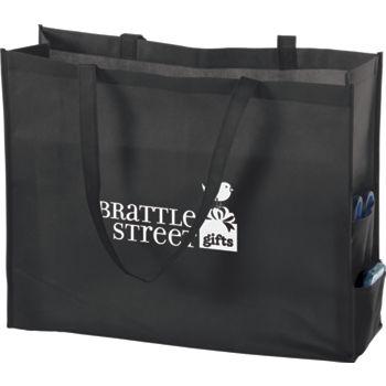"""Black Non-Woven Tote Bags, 20 x 6 x 16"""""""
