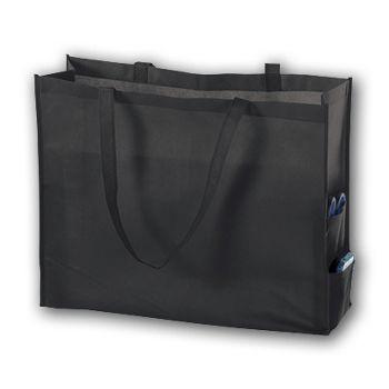 """Black Unprinted Non-Woven Tote Bags, 20 x 6 x 16"""""""