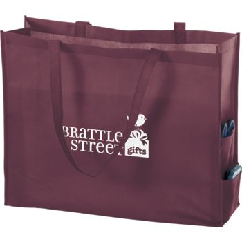 Burgundy Non-Woven Tote Bags, 20 x 6 x 16