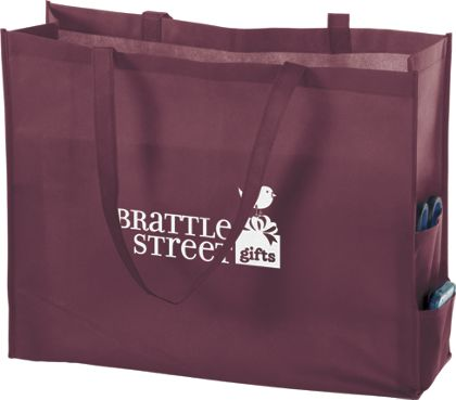 Burgundy Non-Woven Tote Bags, 20 x 6 x 16""
