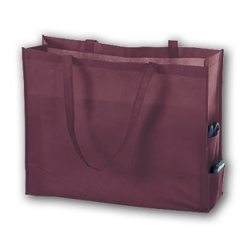 Burgundy Unprinted Non-Woven Tote Bags, 20 x 6 x 16