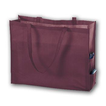 Burgundy Unprinted Non-Woven Tote Bags, 20 x 6 x 16