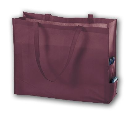 Burgundy Unprinted Non-Woven Tote Bags, 20 x 6 x 16""