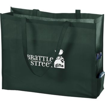 Hunter Green Non-Woven Tote Bags, 20 x 6 x 16""