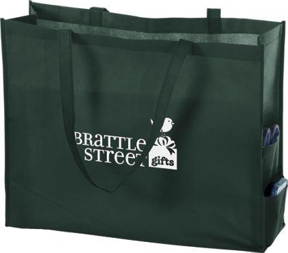 """Hunter Green Non-Woven Tote Bags, 20 x 6 x 16"""""""