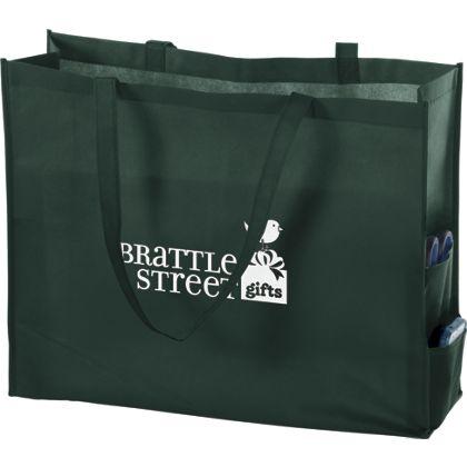 Hunter Green Non-Woven Tote Bags, 20 x 6 x 16