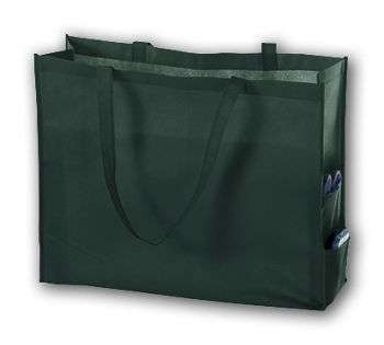Hunter Green Unprinted Non-Woven Tote Bags, 20 x 6 x 16