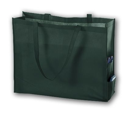 Hunter Green Unprinted Non-Woven Tote Bags, 20 x 6 x 16""