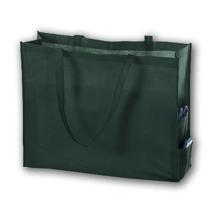 Hunter Green Unprinted Non-Woven Tote Bags, 20 x 6 x 16