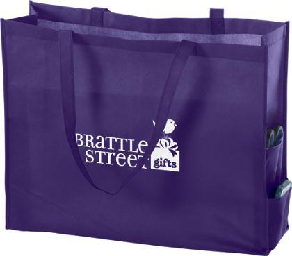"""Purple Non-Woven Tote Bags, 20 x 6 x 16"""""""