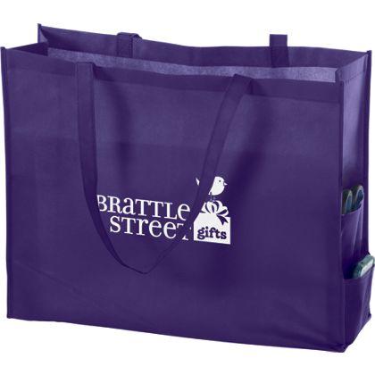 Purple Non-Woven Tote Bags, 20 x 6 x 16