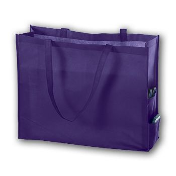 Purple Unprinted Non-Woven Tote Bags, 20 x 6 x 16