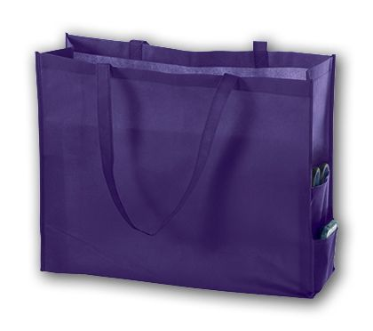 Purple Unprinted Non-Woven Tote Bags, 20 x 6 x 16""