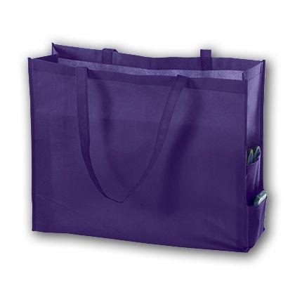 """Purple Unprinted Non-Woven Tote Bags, 20 x 6 x 16"""""""
