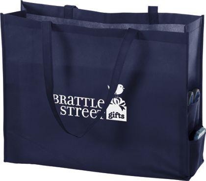 """Navy Non-Woven Tote Bags, 20 x 6 x 16"""""""