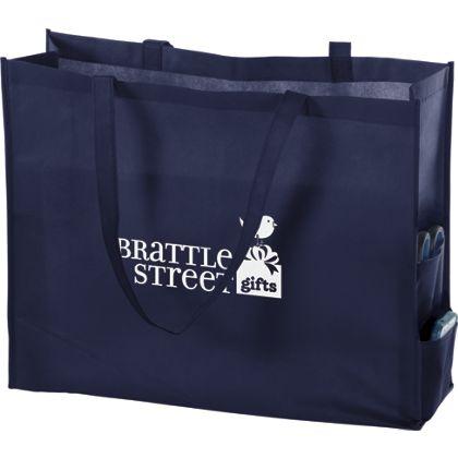 Navy Non-Woven Tote Bags, 20 x 6 x 16