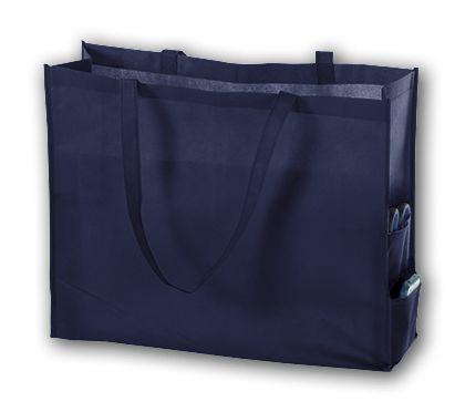 """Navy Unprinted Non-Woven Tote Bags, 20 x 6 x 16"""""""