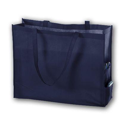 Navy Unprinted Non-Woven Tote Bags, 20 x 6 x 16
