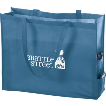 Cool Blue Non-Woven Tote Bags, 20 x 6 x 16