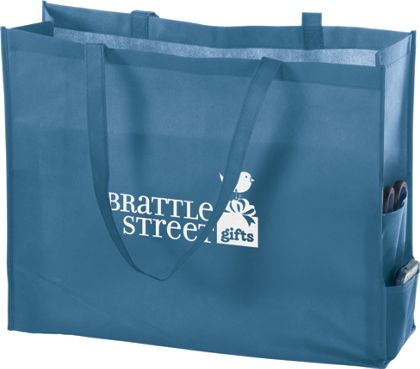 """Cool Blue Non-Woven Tote Bags, 20 x 6 x 16"""""""