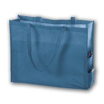 Cool Blue Unprinted Non-Woven Tote Bags, 20 x 6 x 16