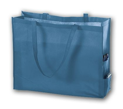 Cool Blue Unprinted Non-Woven Tote Bags, 20 x 6 x 16""