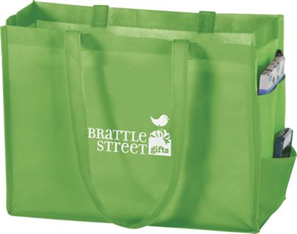 """Lime Non-Woven Tote Bags, 16 x 6 x 12"""""""