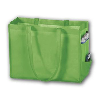 Lime Unprinted Non-Woven Tote Bags, 16 x 6 x 12