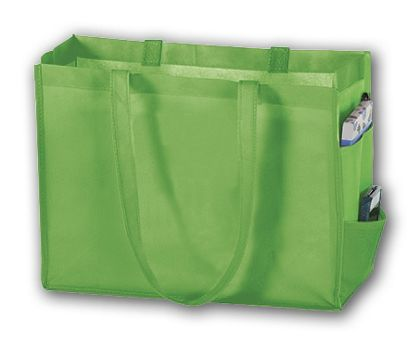 """Lime Unprinted Non-Woven Tote Bags, 16 x 6 x 12"""""""