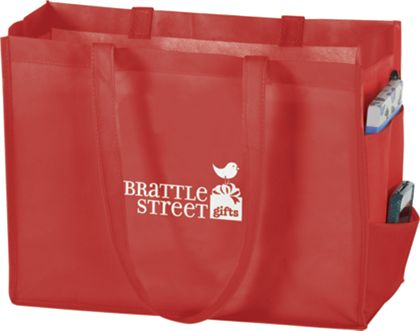 """Red Non-Woven Tote Bags, 16 x 6 x 12"""""""