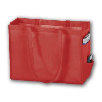 Red Unprinted Non-Woven Tote Bags, 16 x 6 x 12