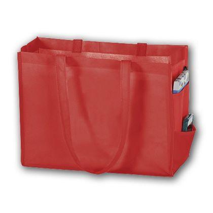 Red Unprinted Non-Woven Tote Bags, 16 x 6 x 12