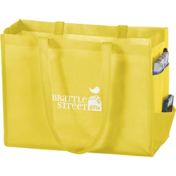 Yellow Non-Woven Tote Bags, 16 x 6 x 12""