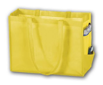 Yellow Unprinted Non-Woven Tote Bags, 16 x 6 x 12