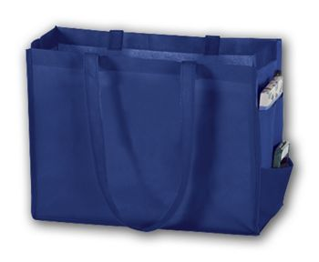 Royal Blue Unprinted Non-Woven Tote Bags, 16 x 6 x 12