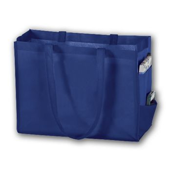 Royal Blue Unprinted Non-Woven Tote Bags, 16 x 6 x 12