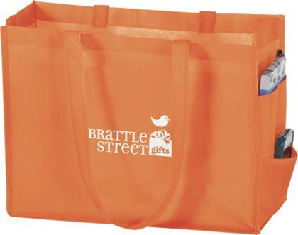 """Orange Non-Woven Tote Bags, 16 x 6 x 12"""""""