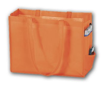 Orange Unprinted Non-Woven Tote Bags, 16 x 6 x 12