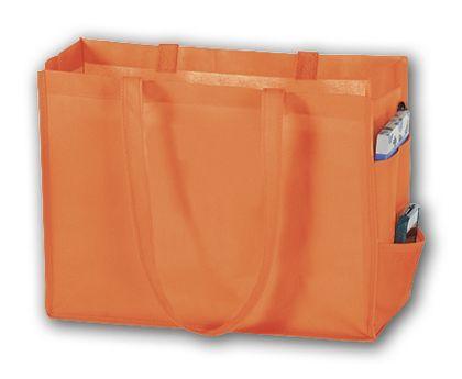 """Orange Unprinted Non-Woven Tote Bags, 16 x 6 x 12"""""""