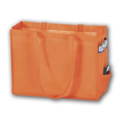 Orange Unprinted Non-Woven Tote Bags, 16 x 6 x 12